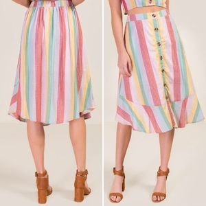 miami BIGBUTTONS Skirt soft rainbow tinsel striped